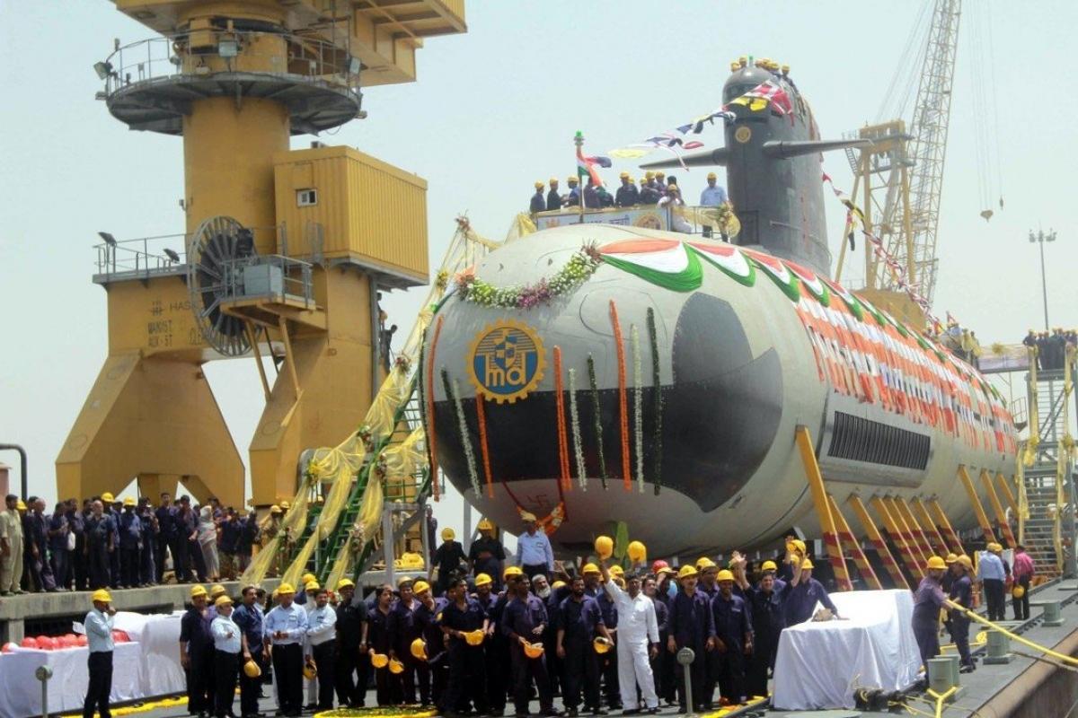 Tàu ngầm tấn công Scorpene chạy diesel-điện do Ấn Độ tự đóng trong nước. Ảnh: Tân Hoa xã