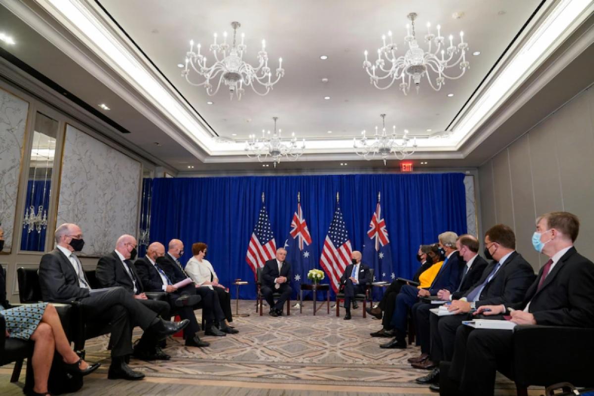 Thủ tướng Australia Scott Morrison hội đàm với Tổng thống Mỹ Joe Biden tại Mỹ. Nguồn: AP