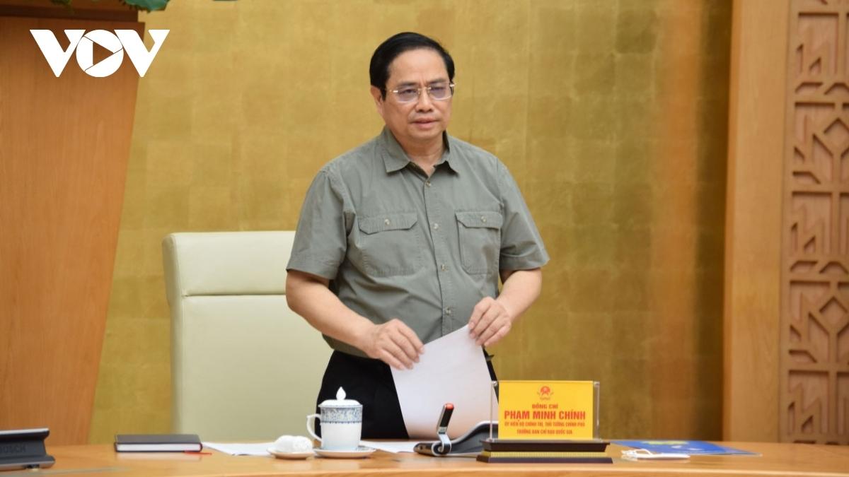 Thủ tướng Chính phủ Phạm Minh Chính, Trưởng Ban Chỉ đạo quốc gia phòng, chống dịch COVID-19 chủ trì phiên họp. Ảnh: Vũ Khuyên