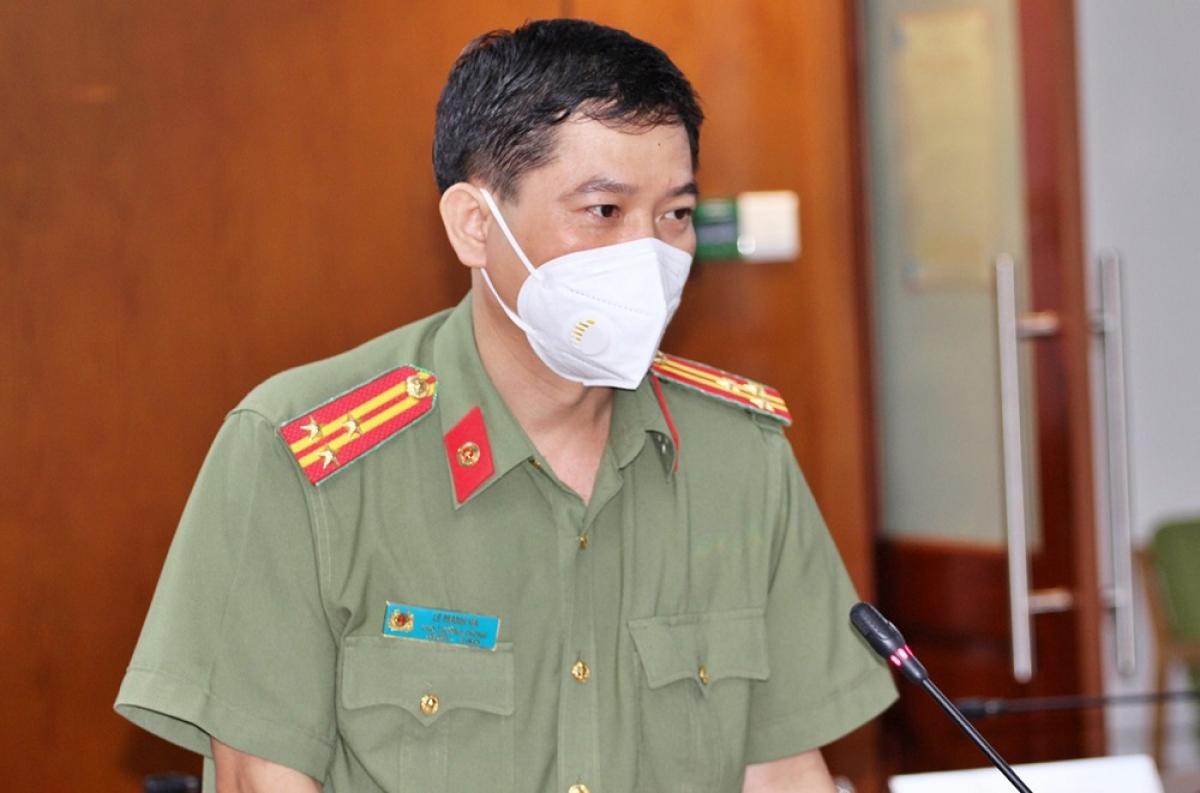 Thượng tá Lê Mạnh Hà - Phó Trưởng phòng tham mưu, Công an Thành phố (Ảnh: Hà An)