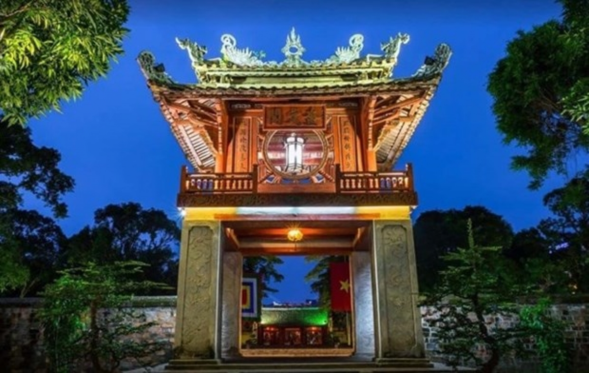 Khue Van Cac (the pavilion of the constellation of literature) in Hanoi's Temple of Literature Complex. (Photo: Van Mieu–Quoc Tu Giam Culture and Science Centre)