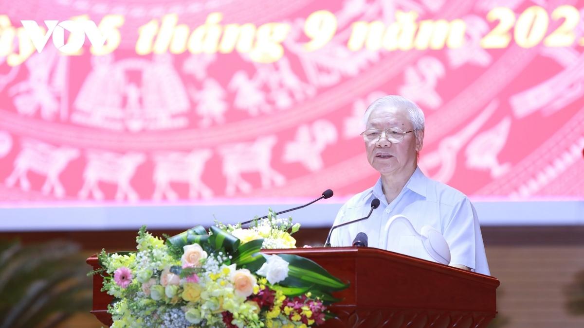 Tổng Bí thư Nguyễn Phú Trọng phát biểu chỉ đạo tại hội nghị.