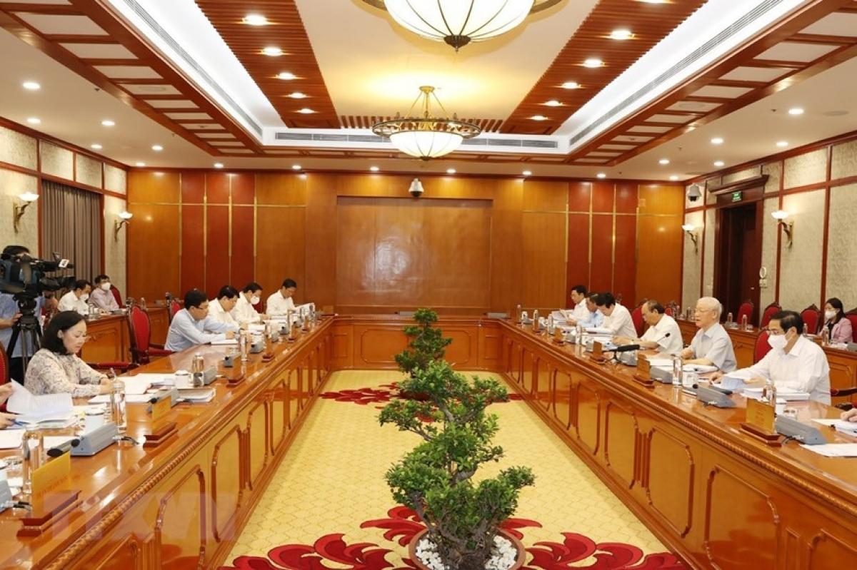 """Bộ Chính trị họp cho ý kiến về Đề án """"Sửa đổi, bổ sung chức năng, nhiệm vụ, quyền hạn của Ban Chỉ đạo Trung ương về PCTN"""" (Ảnh: TTXVN)"""