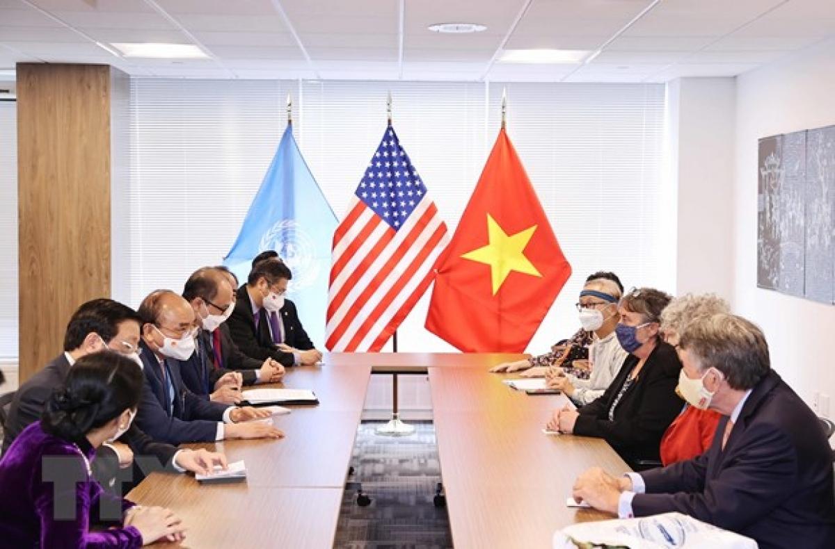 Chủ tịch nước tiếp bạn bè Hoa Kỳ nhân kỷ niệm 60 năm thảm họa da cam ở Việt Nam (Ảnh: TTXVN)