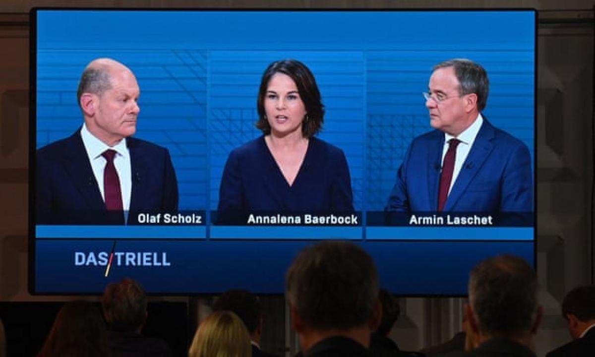 Ba ứng cử viên thủ tướng hàng đầu của Đức gồm ông Olaf Scholz của đảng Dân chủ Xã hội (SPD), bà Annalena Baerbock của đảng Xanh và ông Armin Laschet của Liên minh Dân chủ/Xã hội cơ đốc giáo (CDU/CSU). Ảnh: DW