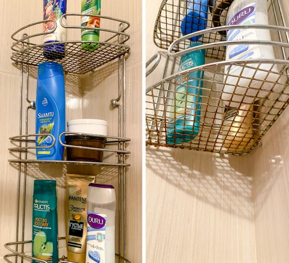 Nhiều gia đình có thói quen dùng các kệ sắt. Tuy nhiên phòng tắm có độ ẩm khá cao, sẽ gây rỉ sắt mất thẩm mỹ. Bạn có thể dùng các kệ nhựa hoặc kệ thủy tinh thay thế.
