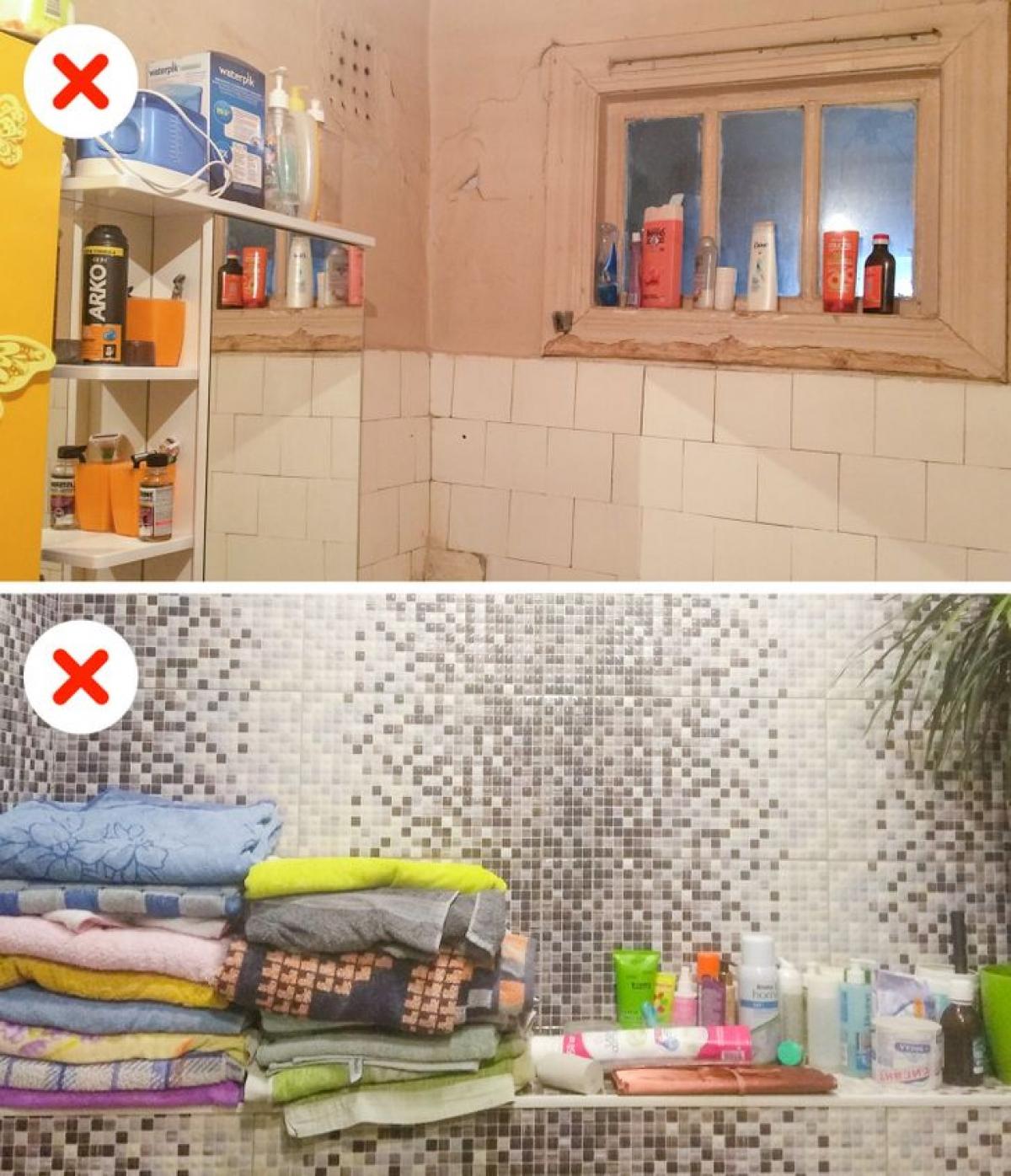 Không gian phòng tắm thường khá nhỏ hẹp, không thích hợp để bày ra quá nhiều đồ đạc. Chỉ nên để những vật dùng thường sử dụng nhất, còn lại hãy cất gọn bên ngoài phòng tắm, hoặc giấu sau các tủ âm tường.