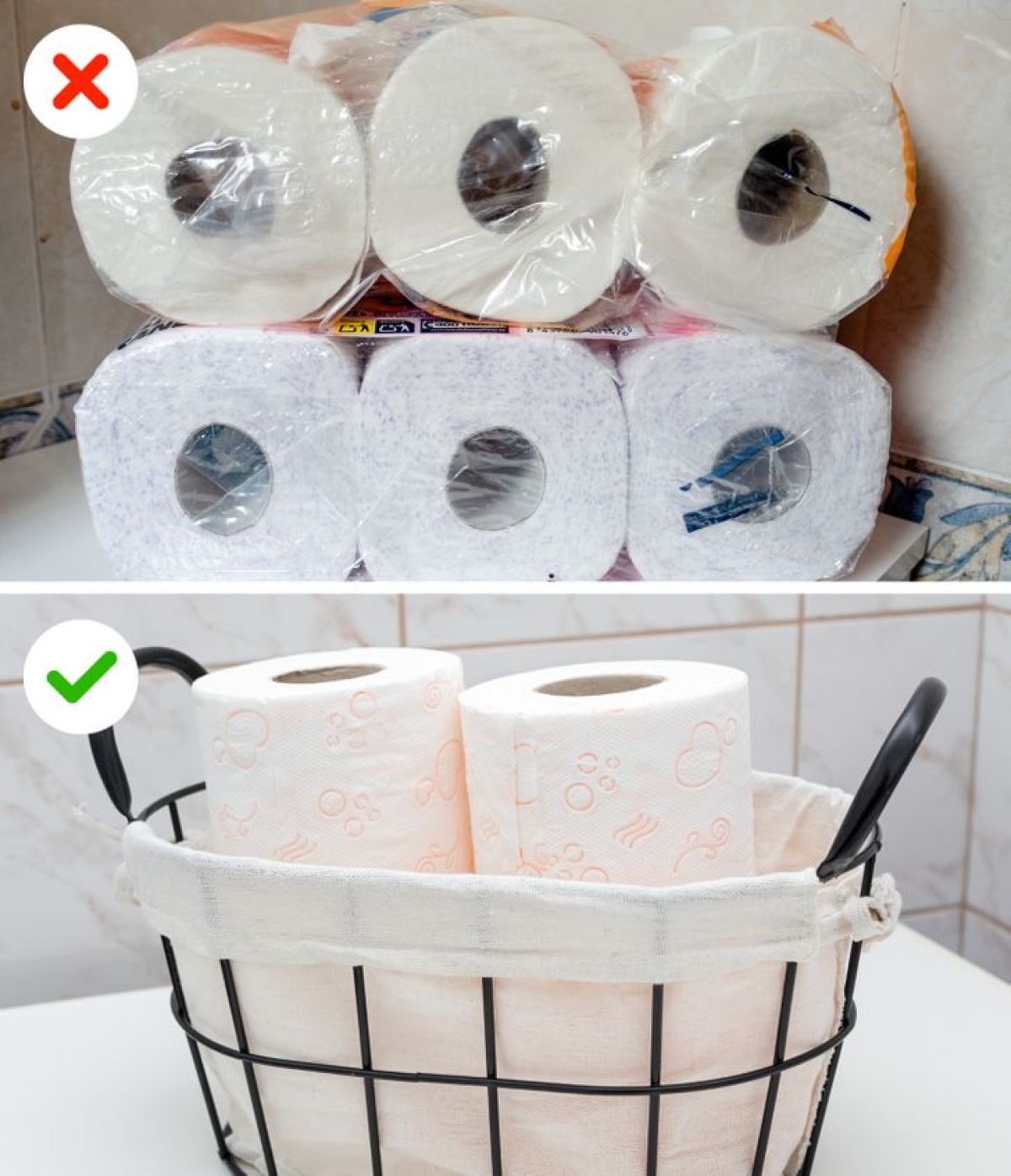 """Giấy vệ sinh cũng là vật dụng thường được các gia chủ """"chất đống"""" trong phòng tắm. Hãy để một số lượng vừa phải và thay thế khi gần hết."""