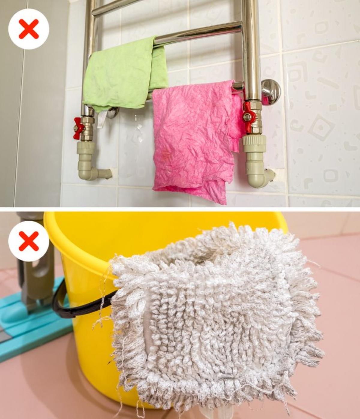 Các loại khăn lau, xô chậu cũng không nên để trong phòng tắm có độ ẩm cao.
