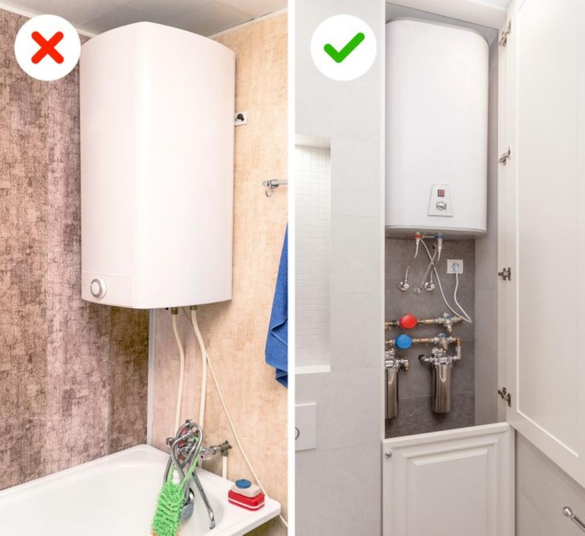 Bình nước nóng là vật dụng cần thiết, xong lại khá choán không gian. Hãy tạo các tủ âm tường để khiến phòng tắm thẩm mỹ hơn.