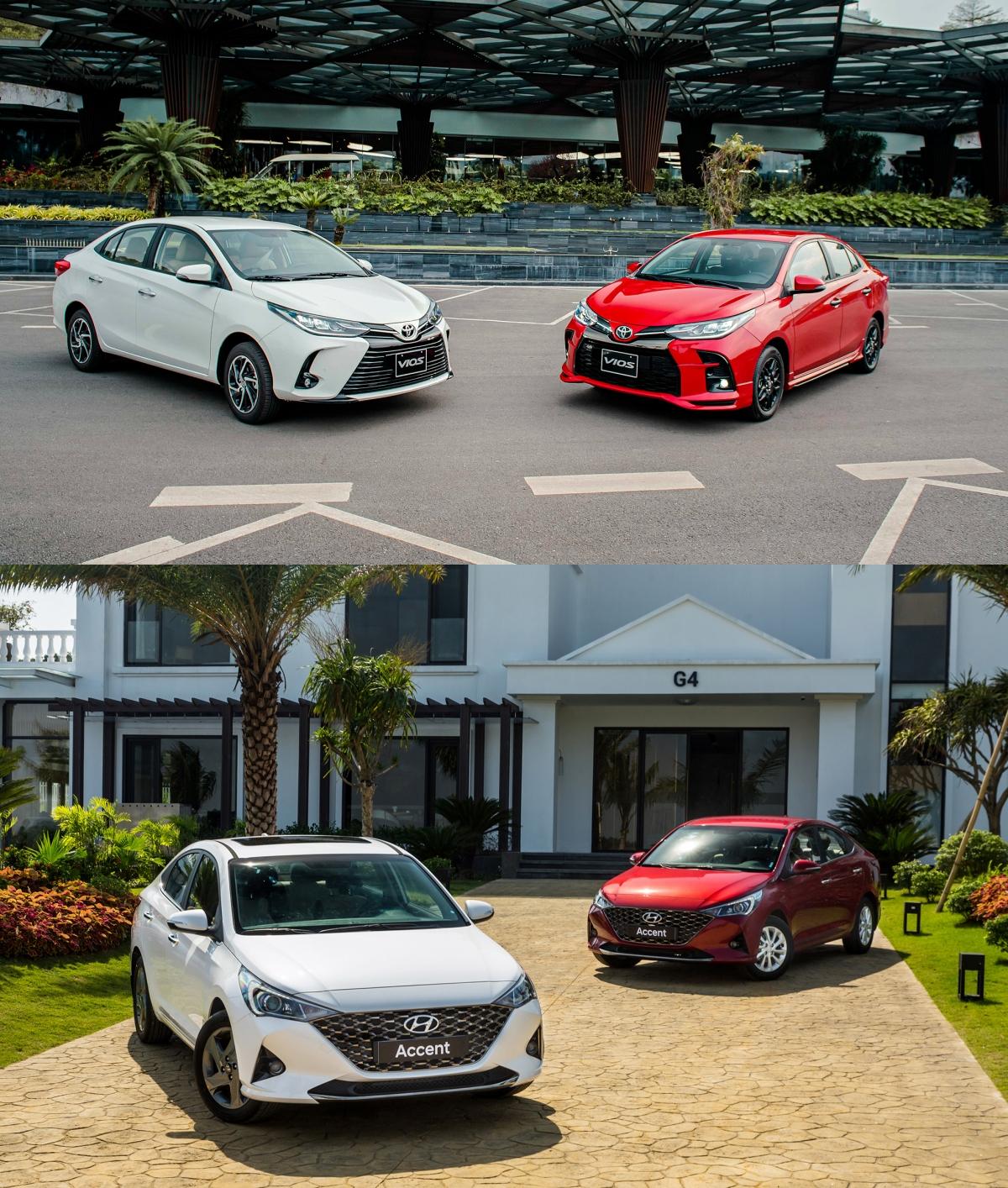 Toyota Vios (trên), Hyundai Accent (dưới).
