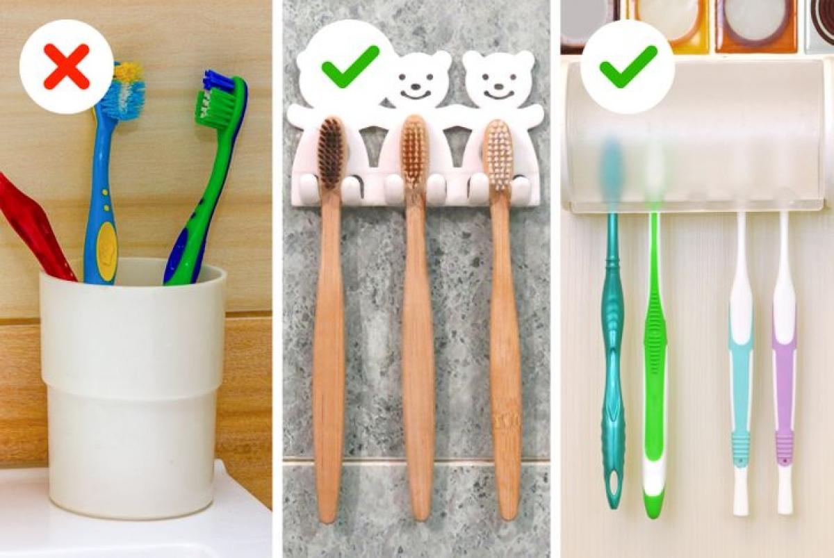 Để bàn chải trong cốc sẽ khiến nấm mốc phát triển trên cán bàn chải. Hãy tạo các giá treo, vừa gọn gàng vừa đảm bảo vệ sinh./.