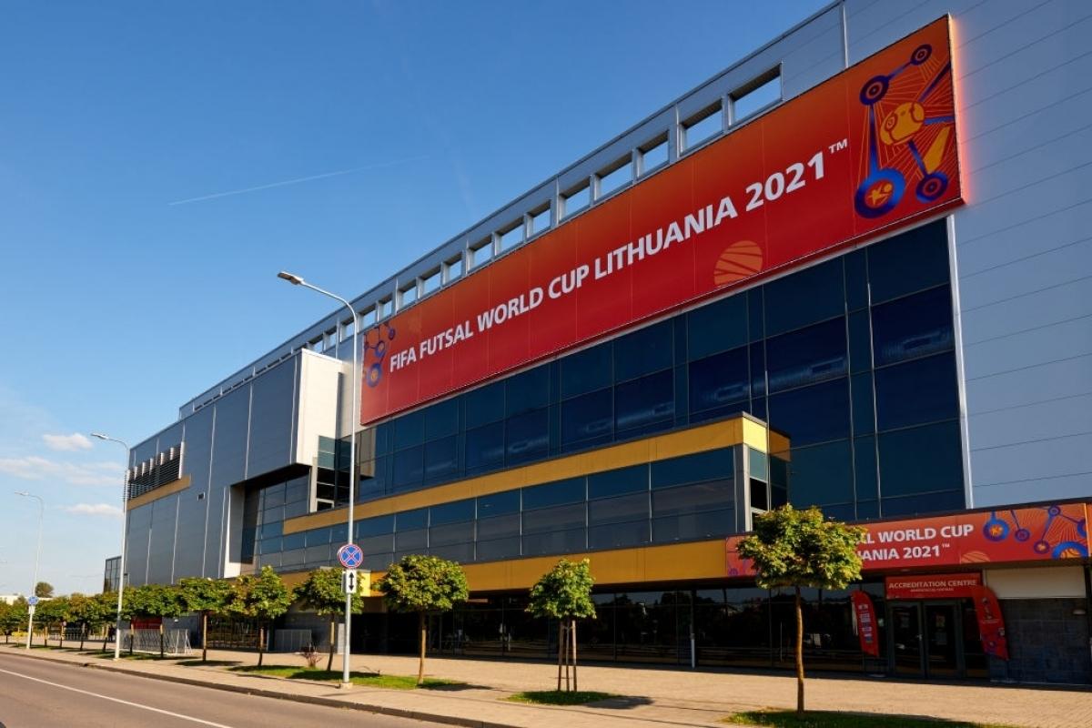 Quang cảnhVilnius Arena, nơi diễn ra trận khai mạc Futsal World Cup 2021 giữa Nga và Ai Cập. (Ảnh: Getty).