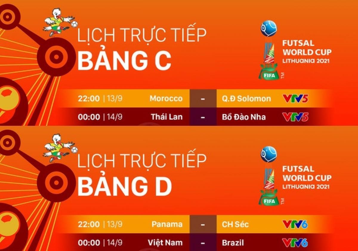 Lịch thi đấu và truyền hình trực tiếp Futsal World Cup 2021 hôm nay (13/9). (Ảnh: VTV).