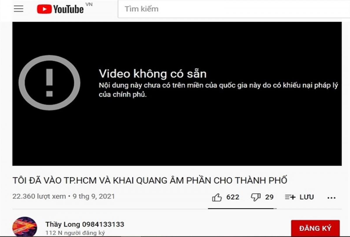 """Một video trên kênh youtube """"Thầy Long 0984133133"""" bị YouTube chặn. (Ảnh chụp màn hình)"""