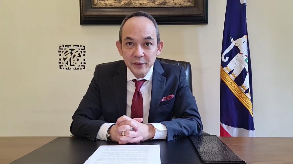 Ông Nikorndej Balankura – Đại sứ Thái Lan tại Việt Nam phát biểu tại lễ trao giải trực tuyến.Nguồn: Đại sứ quán Thái Lan tại Việt Nam