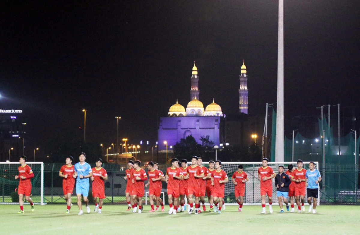 The training session is held on the same day as the team's arrival in Oman.
