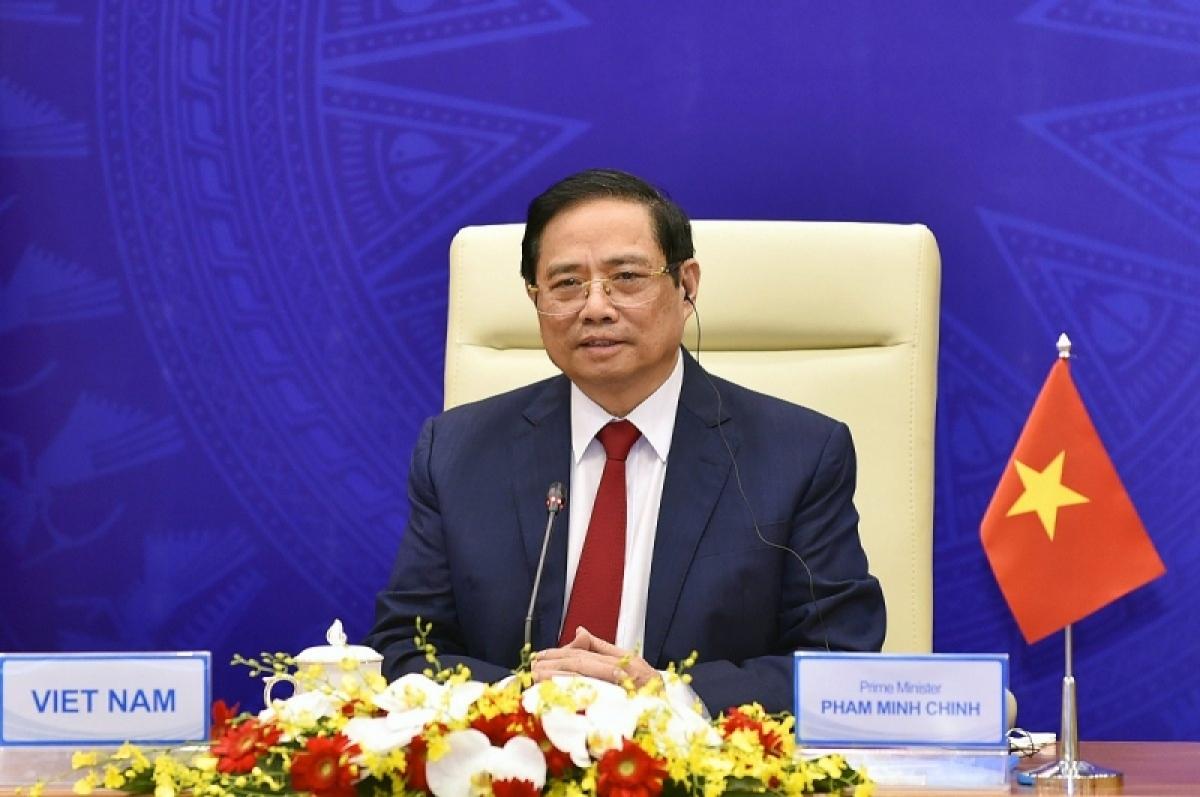 Thủ tướng Phạm Minh Chính dự Diễn đàn 'Tuần lễ năng lượng Nga' lần thứ IV từ ngày 13-15/10/2021 theo hình thức ghi hình.