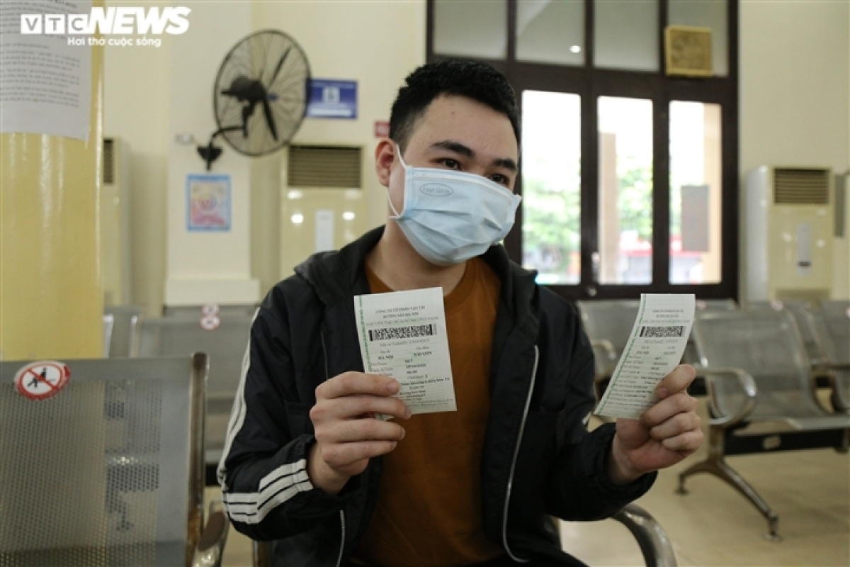 Lam Quoc Dai, who has been stranded in Hanoi for the past three months due to COVID-19, says he is excited to get a ticket to return to his home town.