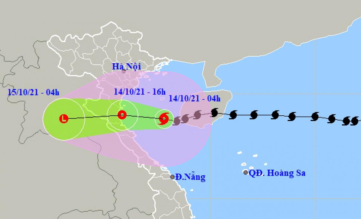 Đường đi và vị trí bão số 8. Ảnh Trung tâm Dự báo Khí tượng thủy văn quốc gia.