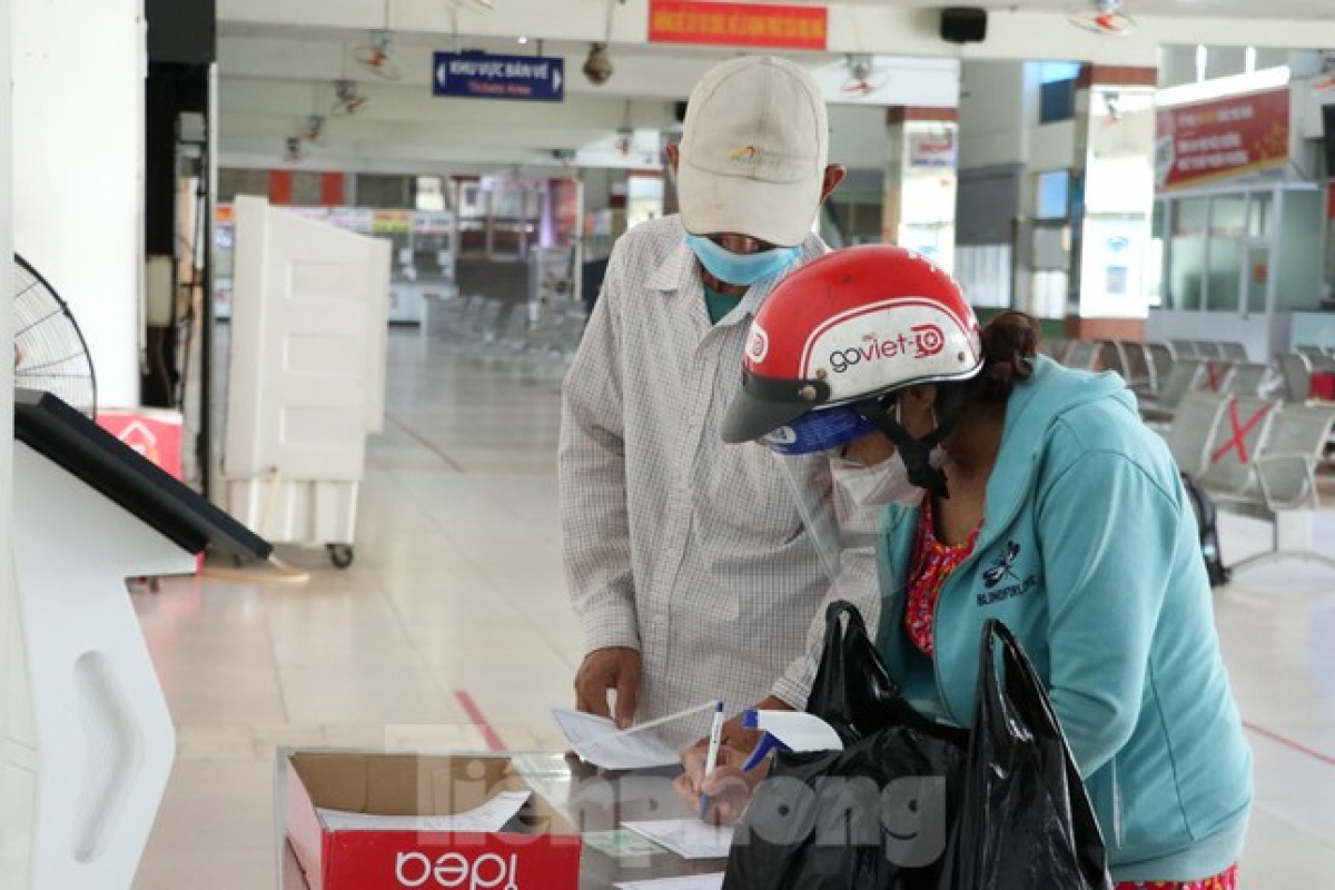 Locals are required to complete a healthcare declaration when visiting the coach station.