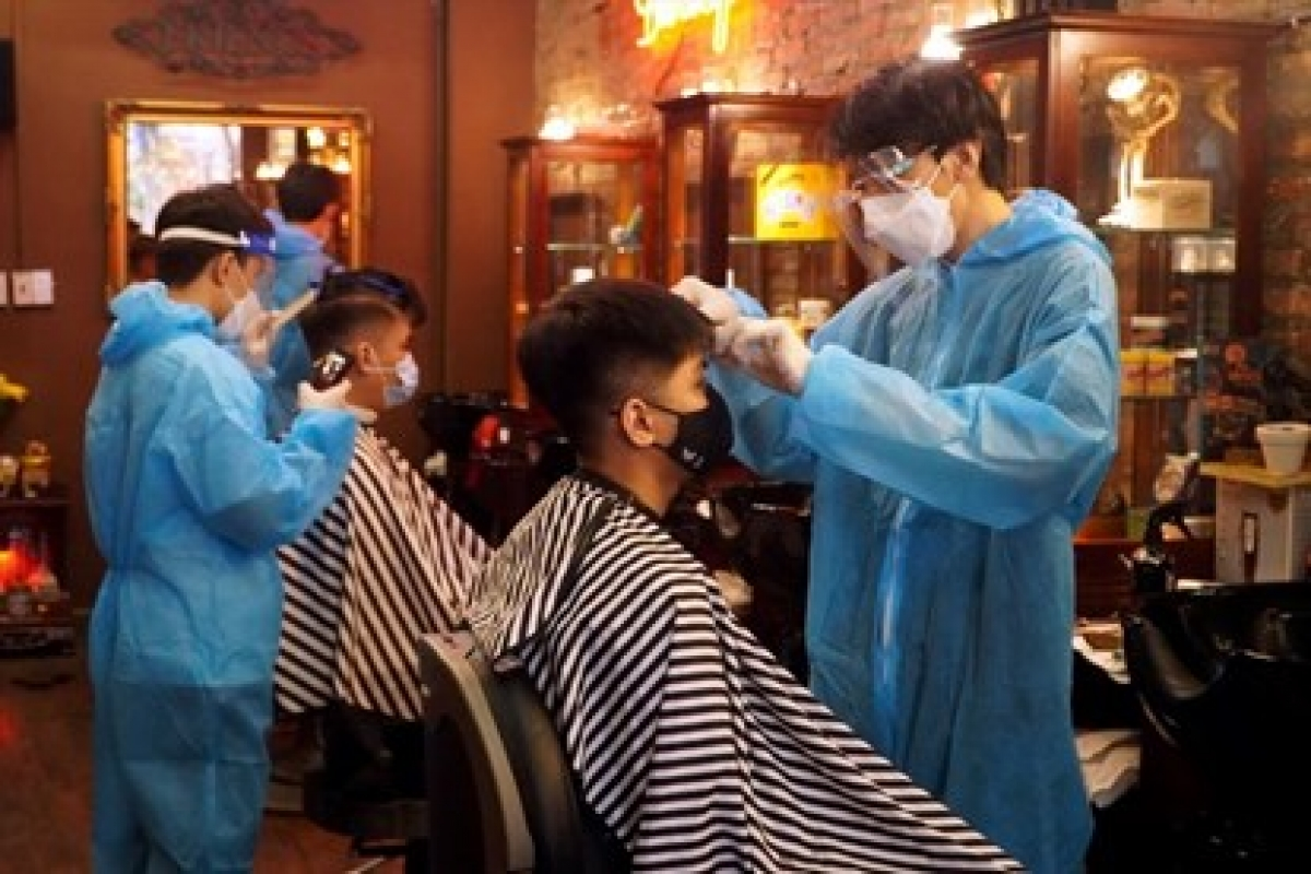 At a barber shop
