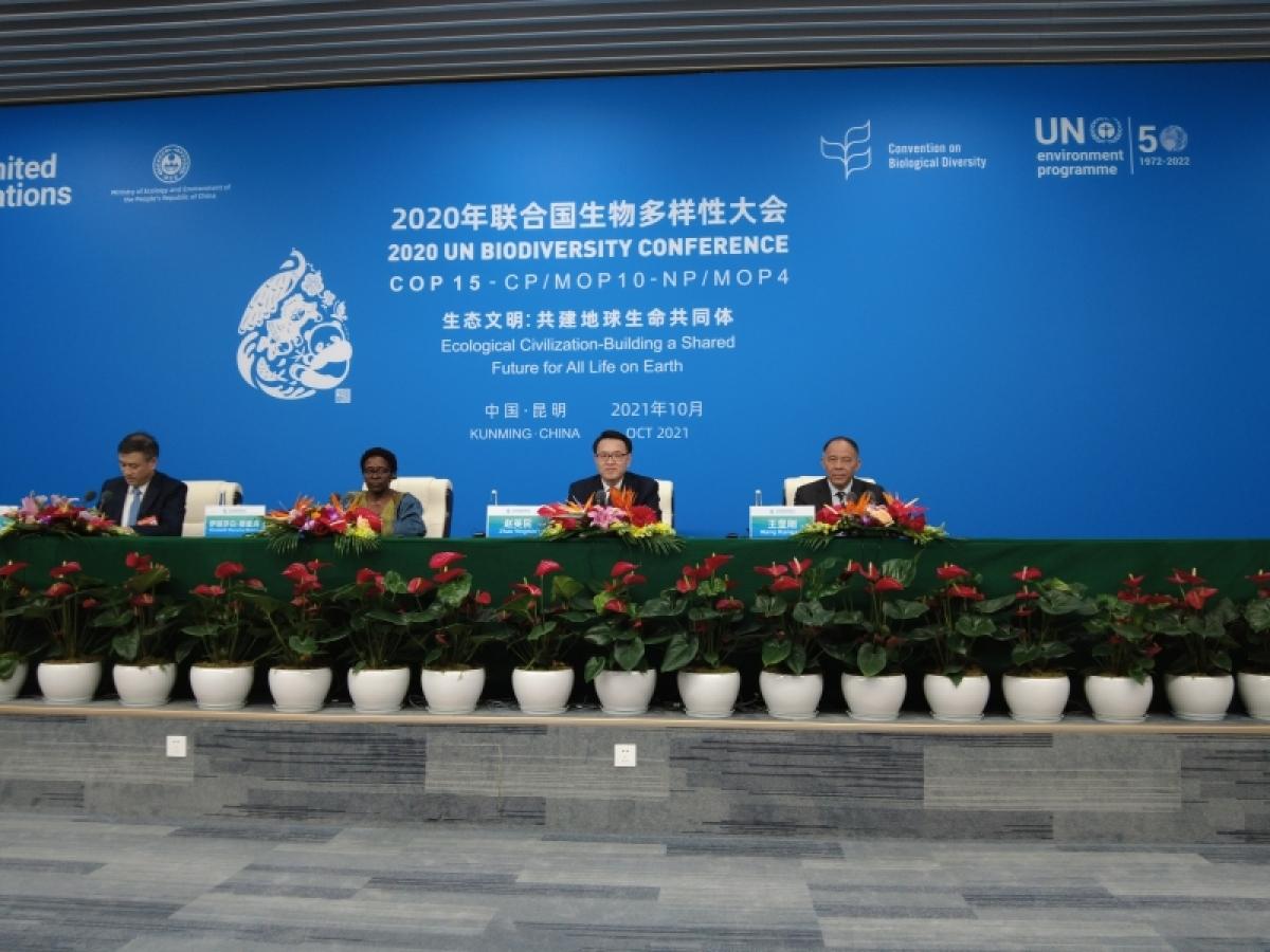 Hội nghị COP 15 tổ chức họp báo tối ngày 13/10. Ảnh: The Paper
