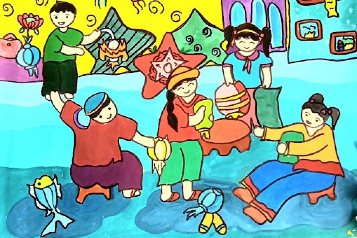 A painting of a Vietnamese child at the Mitsubishi Asian Children's Enikki Festa. (Photo: hanoitv.vn)