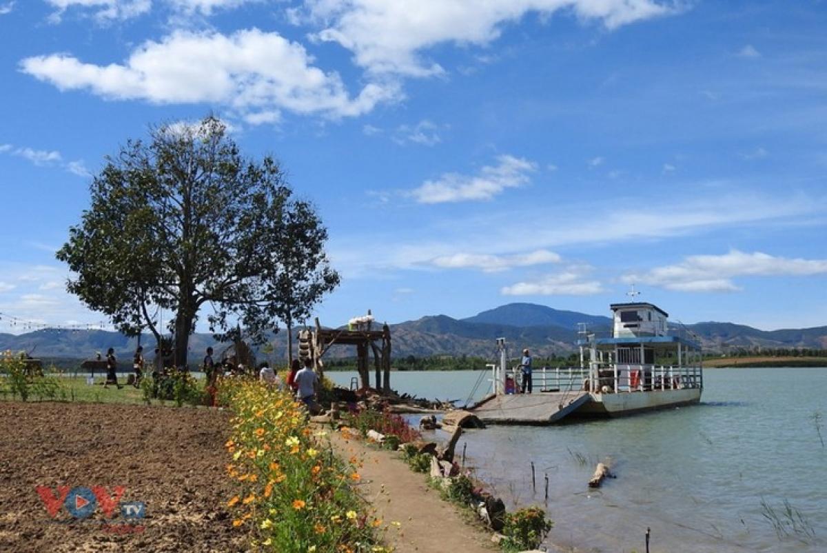 A riverside flower garden in Kon Trang Long Loi village