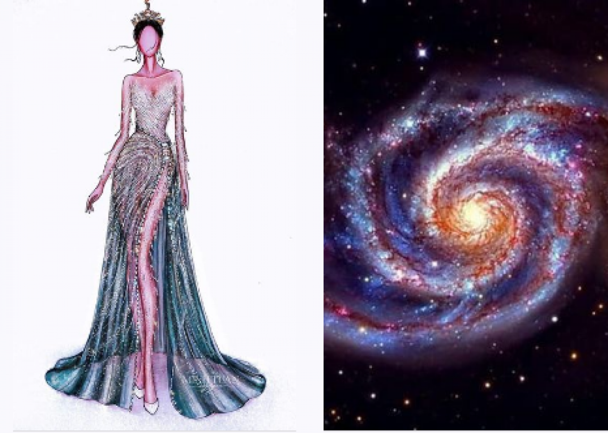 The immense black colour of the universe combines with the colour of the stars to be the highlight of the costume.