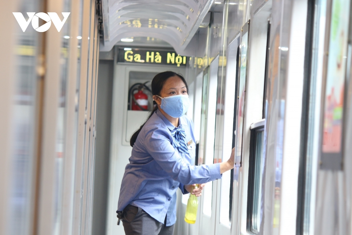 The train is kept hygienic in an effort to prevent the potential spread of the SARS-CoV-2 virus.