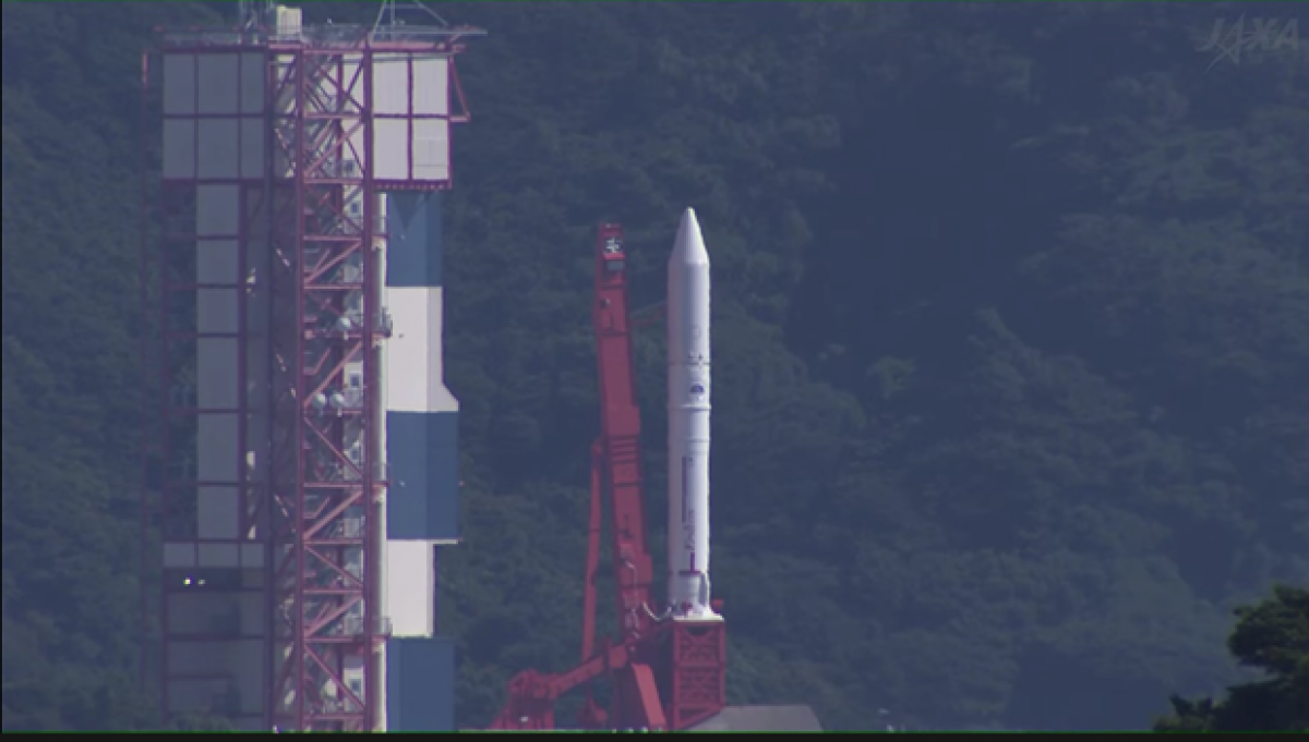 The launch of the Epsilon-5 rocket from the Uchinoura Space Centre in Japan's Kagoshima Prefecturecarrying NanoDragon and eight other satellites is delayed for unknown reasons. (Photo: JAXA)