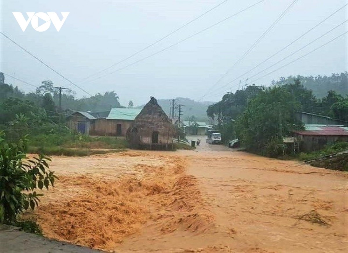 Floodwaters submerge residential areas in the mountainous district of Tay Giang in Quang Nam province.