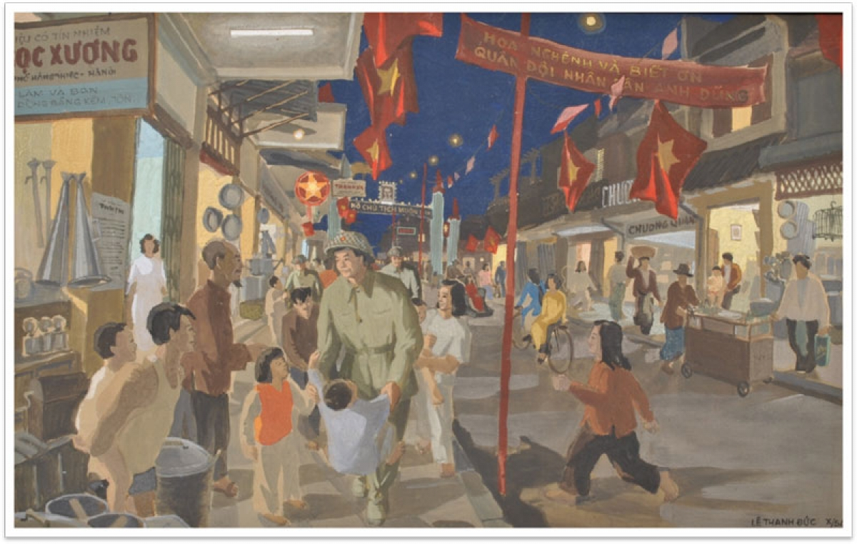 A painting produced by Le Thanh Duc marks Hanoi Liberation Day.