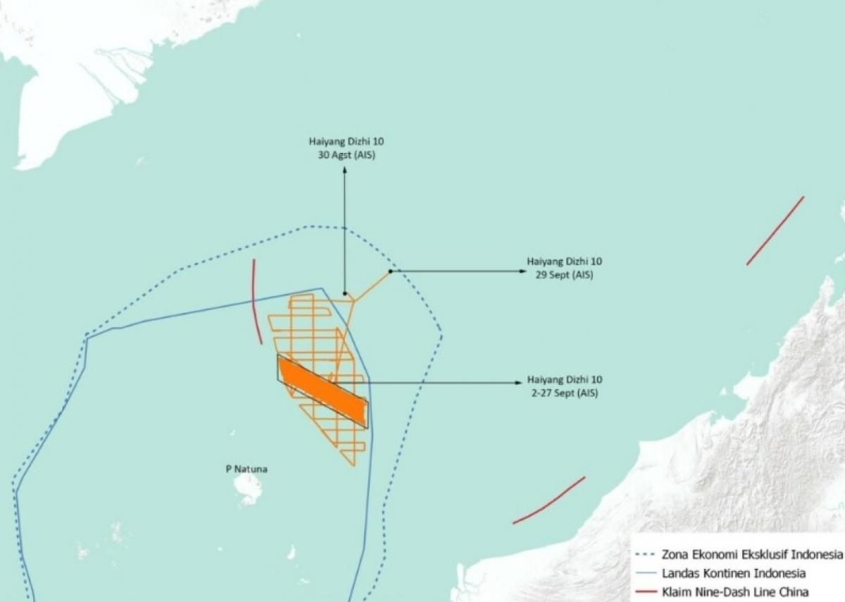 Bản đồ di chuyển của tàu khảo sát Trung Quốc từ ngày 30/8- 29/9/2021 trong EEZ Indonesia (Nguồn: Kompas)