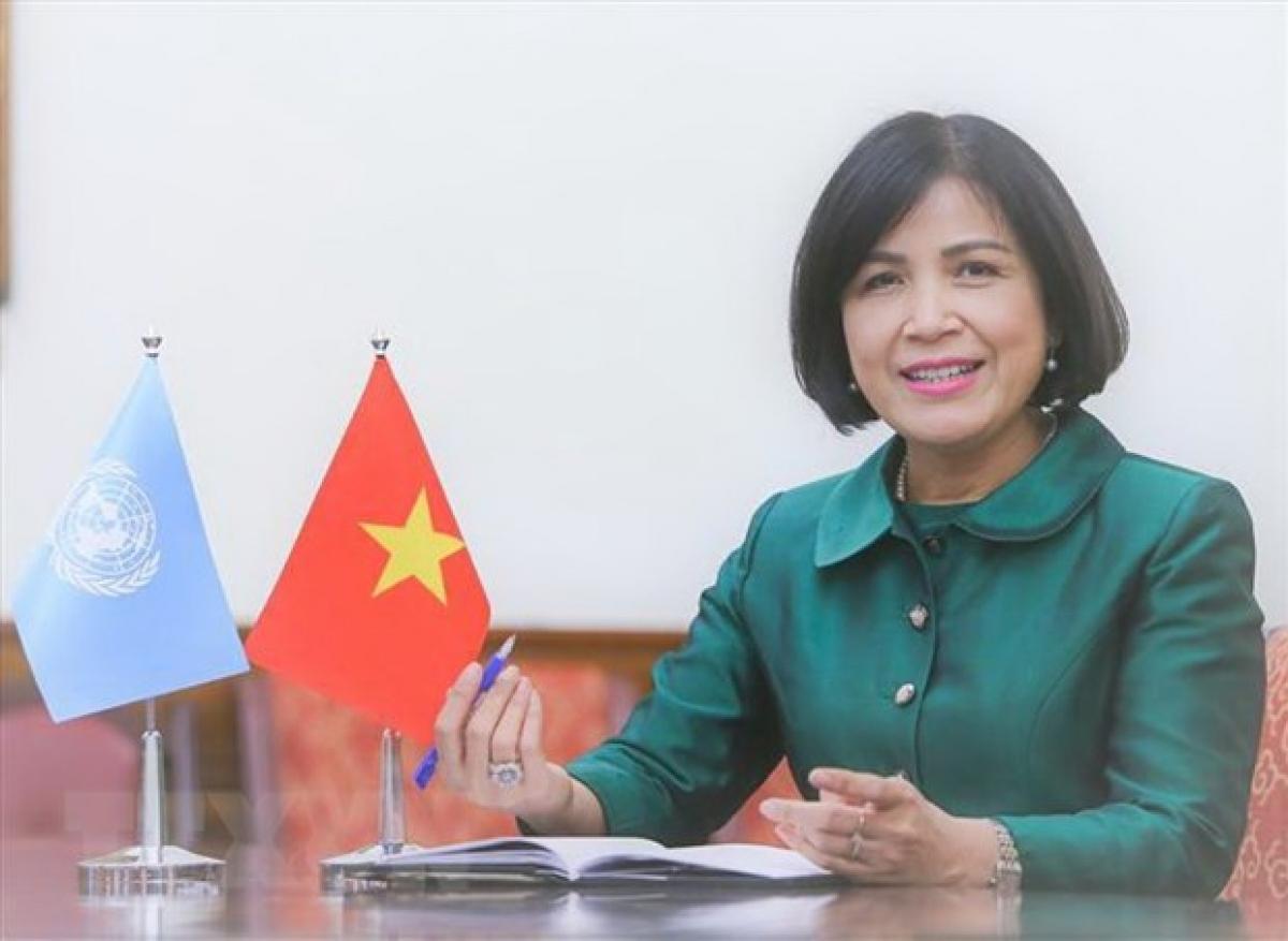 Đại sứ Lê Thị Tuyết Mai, Trưởng Phái đoàn thường trực Việt Nam bên cạnh Liên Hợp Quốc, Tổ chức Thương mại Thế giới (WTO) và các tổ chức quốc tế khác tại Geneva. (Ảnh: Tố Uyên/TTXVN)
