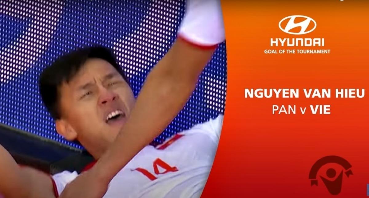 Van Hieu is listed among FIFA's top seven Goals of 2021 Futsal World Cup (Photo: vtv.vn)