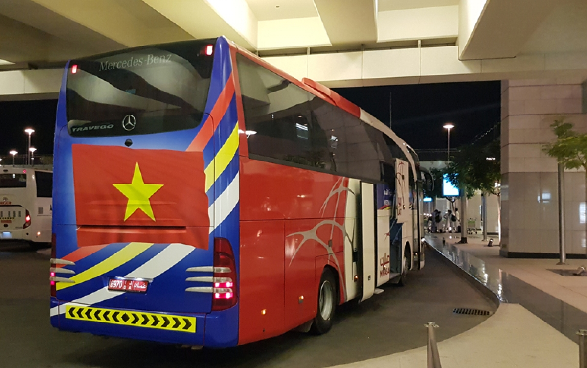 The Oman side arrange two 45-seater buses to transport the coaching board and players to a hotel